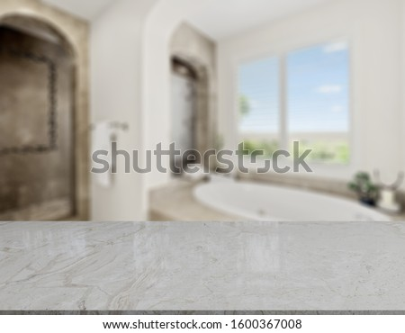 Table Top And Blur Bathroom Of The Background #1600367008