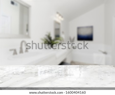 Table Top And Blur Bathroom Of The Background #1600404160