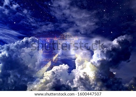 Stargate to heaven in a cloudy night sky #1600447507