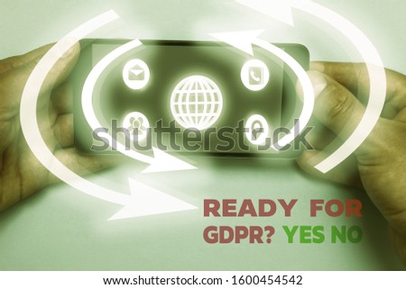 Word writing text Ready For Gdpr question Yes No. Business concept for Readiness General Data Protection Regulation. #1600454542