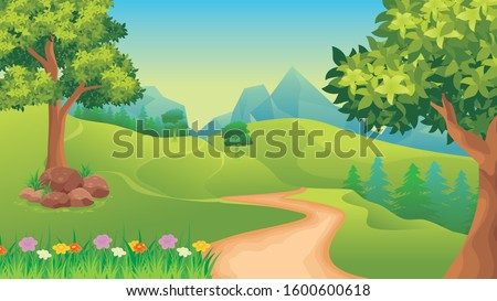 Vector landscape with Green field, Trees, mountain, blue sky and clouds, beautiful and lovely nature illustration #1600600618