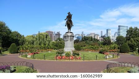 A bronze statue of George Washington in Boston Public Garden.