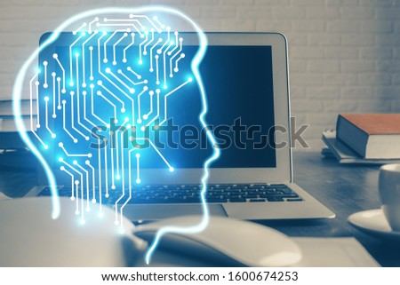 Multi exposure of work table with computer and brain hologram. Brainstorm concept. #1600674253