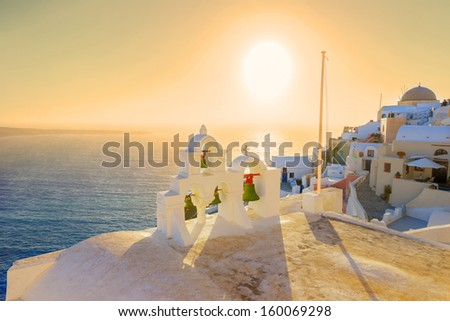 Greece Santorini island Oia sunset, view above caldera with sea background in Cyclades