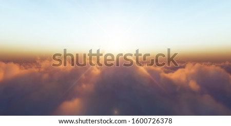 Beautiful aerial view above clouds with sunset. 3d illustration #1600726378