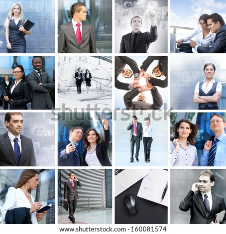Business, time, money, people and success: collection made of many different pictures #160081574