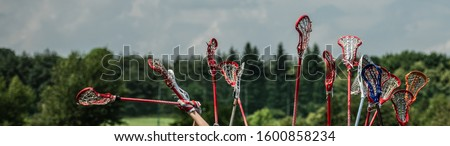 raised lacrosse sticks against the sky