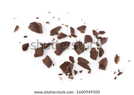 piece of chocolate isolated on white background with clipping path. . Top view. Flat lay. Royalty-Free Stock Photo #1600949500