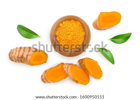 Turmeric powder and turmeric root isolated on white background. Top view. Flat lay #1600950151