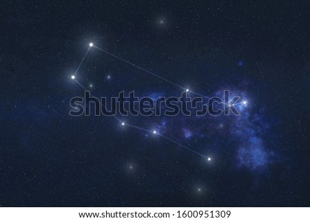 Gemini constellation stars in outer space. Zodiac Sign Gemini constellation lines. Elements of this image were furnished by NASA  Royalty-Free Stock Photo #1600951309