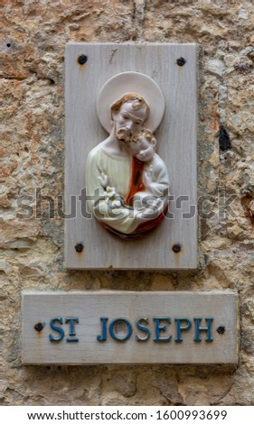 Saint Joseph. Holy pictures on Maltese houses. Mdina. Malta.