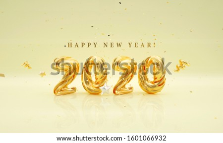3D 2020 happy new year font snow blue Gloden #1601066932