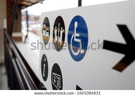 Services direction handicap wheelchair railroad sign #1601086831