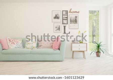 Stylish room in white color with sofa. Scandinavian interior design. 3D illustration #1601123629