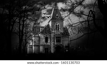 Haunted house with dark scary horror atmosphere Black and White Photography Royalty-Free Stock Photo #1601130703