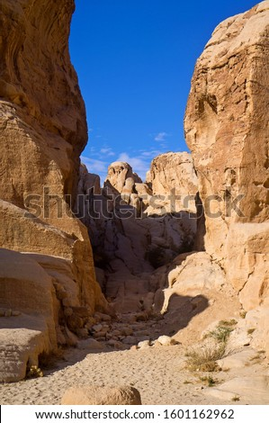 Petra Temple and Canyon, Jordan. #1601162962
