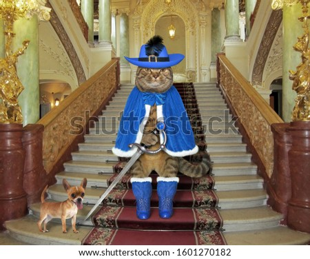The cat dressed in blue musketeer uniform with a sword is standing on the castle stairs. His dog is next to him. #1601270182