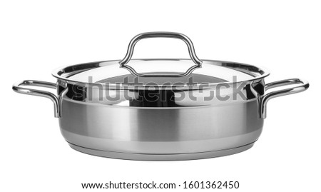 Stainless steel pot isolated on white background #1601362450
