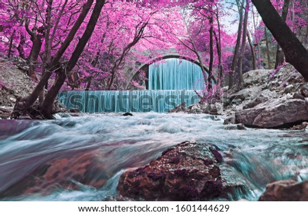 infrared landscape of the double waterfalls Trikala Thessaly Greece - long exposure photography