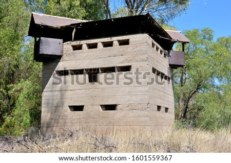 Krom River blockhouse south of Three Sisters in the Northern Cape Province of South Africa. Used by the British troups to defend the railway bridge during the second Boer War 1899-1902.