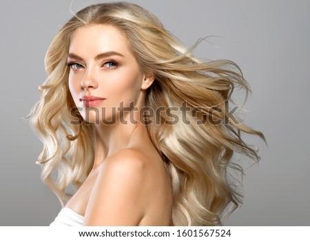 Blonde face woman curly hair beauty face natural makeup  #1601567524