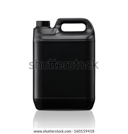 Black plastic gallon, jerry can  isolated on a white background.  (with clipping work path) #160159418