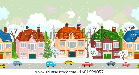 seamless border with winter cute cityscape and falling snow #1601599057