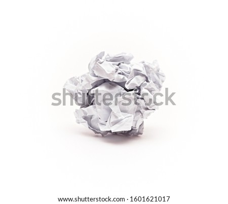 Crumpled paper in a ball on an isolated white background.Close up. #1601621017