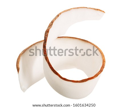 Coconut shaving, curl or rolled up slice of kernel meat, isolated #1601634250
