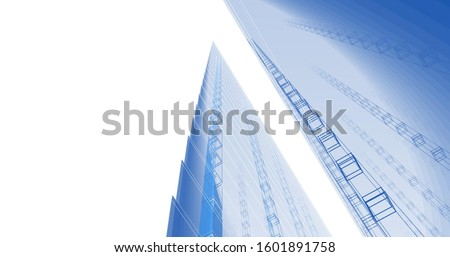 Abstract modern architecture background 3d illustration #1601891758