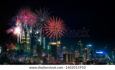 Firework display on Kuala Lumpur city.  #1602015910