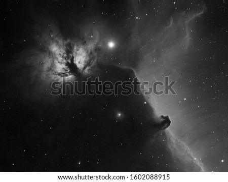Deep space objects Flame Nebula (NGC 2024) and Horsehead Nebula (B33 inside IC 434) in the constellation Orion, amateur picture.