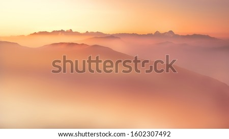 at 5 o'clock at the top of the mountains - sunrise #1602307492