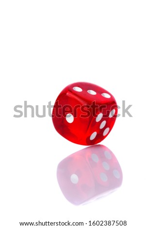 Red dice isolated on a white background #1602387508