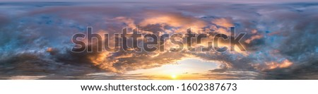dark blue sky before sunset with beautiful awesome clouds. Seamless hdri panorama 360 degrees angle view with zenith for use in graphics or game development as sky dome or edit drone shot #1602387673