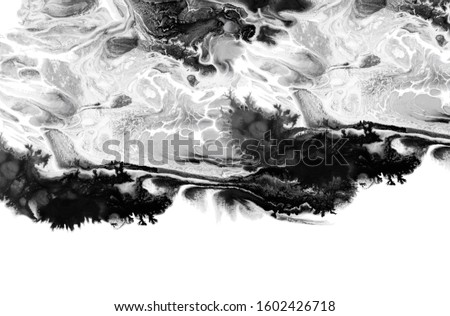 Marble texture. Acrylic colors. Black and white blots. Abstract background.  #1602426718