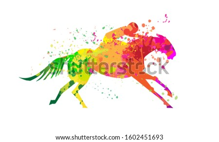 Horse logo design with paint colorful splashes. Use it for makeing web or print posters for equine competitions or stable. Vector illustration. #1602451693