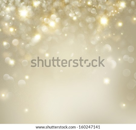 Christmas Background. Golden Holiday Abstract Glitter Defocused Background With Blinking Stars. Blurred Bokeh  Royalty-Free Stock Photo #160247141