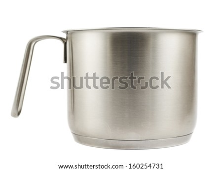 Stainless steel cooking pot with a handle isolated over white background #160254731