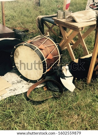 Drum and Confederate Soldier Camp in Gettysburg Pennsylvania #1602559879