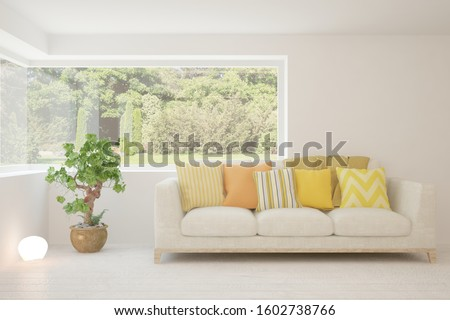 Stylish room in white color with sofa and summer landscape in window. Scandinavian interior design. 3D illustration #1602738766