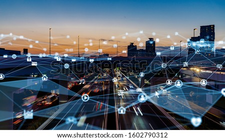 Smart city and communication network concept. 5G. LPWA (Low Power Wide Area). Wireless communication. Royalty-Free Stock Photo #1602790312