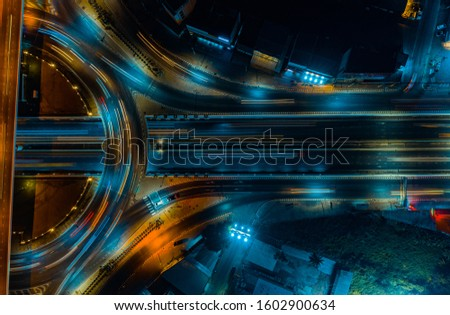 Expressway aerial top view, Road traffic an important infrastructure in Thailand #1602900634