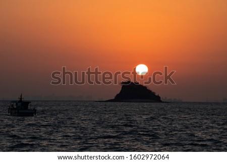 Dawn sky of dawn before dawn on Shark Island, Incheon #1602972064