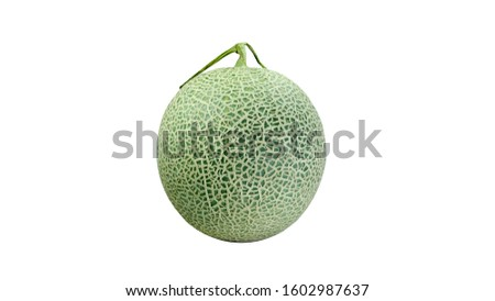 Cantaloupe melon or Honeydew melons are comprised of about 95 percent water and, as such, contain fewer carbohydrates than other melon varieties.Green melon isolated on white background. #1602987637