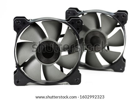 two high performance cooling fans 120 mm for computer hardware isolated on white background #1602992323