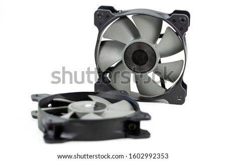 two high performance cooling fans 120 mm for computer hardware isolated on white background #1602992353