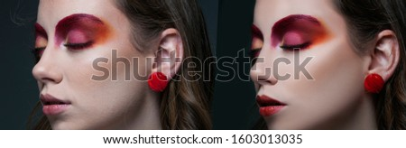 before and after photo retouching , beauty portrait of girl with make up