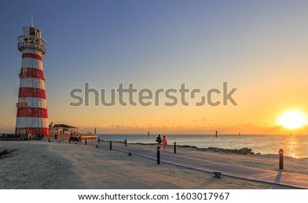 Sunset on the Ocean Cay Marine Reserve Bahamas Island Royalty-Free Stock Photo #1603017967