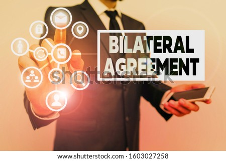 Conceptual hand writing showing Bilateral Agreement. Business photo showcasing Legal obligations to nonbinding agreements of principle. #1603027258